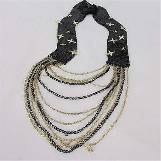 Other Women Black Mesh Metal Chains Gold Crosses Long Fashion Necklace Earring Set