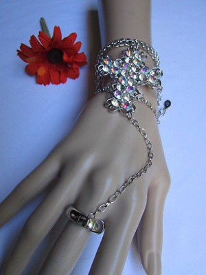 Other Women Silver Slave Cuff Bracelet Ring Cross Rhinestones