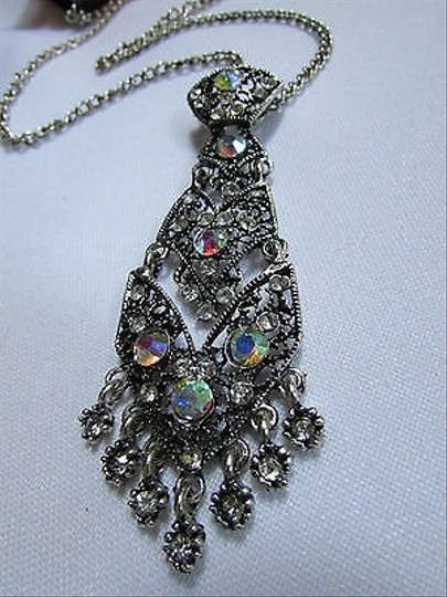 Other Women Black Silver Fashion Necklace Big Tie Pendant Rhinestones