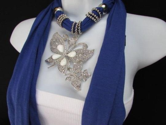 Other Women Blue Fashion Necklace Soft Fabric Scarf Butterfly Pendant White Beads