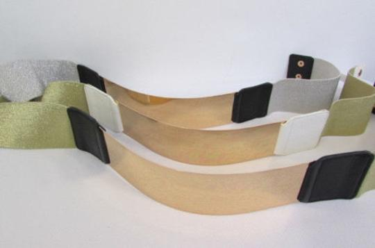 Other Women White Black Elastic Band Fashion Belt Gold Metal Plate Mirror