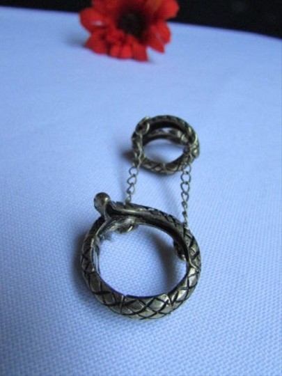 Other Women Gold Metal Elastic Band Fashion Double Ring Chain Snake