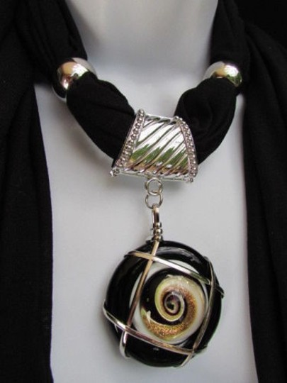 Other Women Black Fashion Necklace Soft Fabric Scarf Big Round Multi Hurricane Pendant