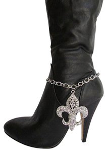 Other Women Silver Boot Anklet Chain Strap Big Fleur De Lis Western Shoe Charm 21