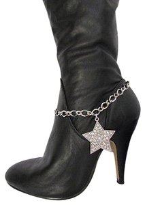 Other Women Silver Boot Anklet Chains Big Star Rhinestones Western Shoe Charm 30