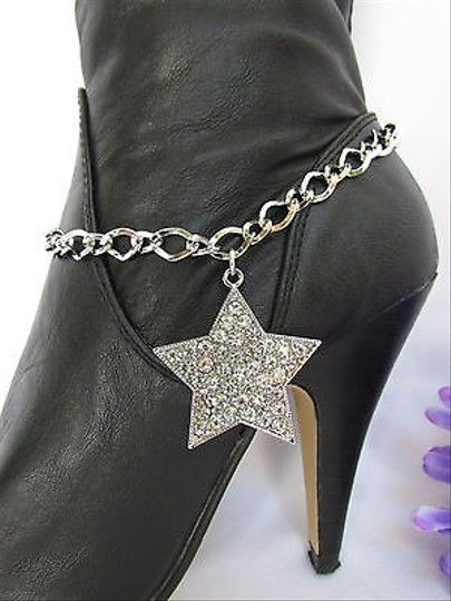 Other Women Silver Boot Anklet Chains Big Star Rhinestones Western