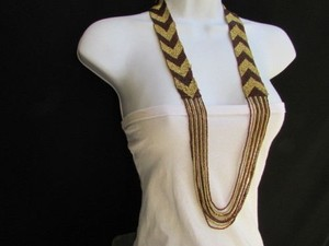 Other Women Long Fashion Gold Brown Beads Necklace Trendy Hawaiian Beach Fashion