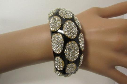 Other Women Gold Thick Metal Black Cuff Bracelet Silver Rhinestone