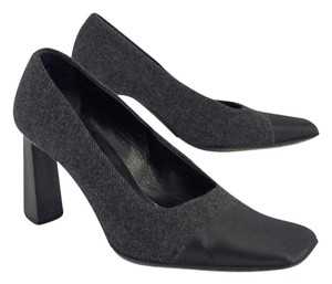 Prada Grey Black Wool Leather Heels Pumps