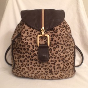 Neiman Marcus Leather Real Fur Cross Body Backpack
