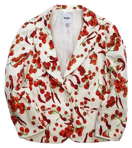 Moschino White & Red Veggie Print Cotton Blazer