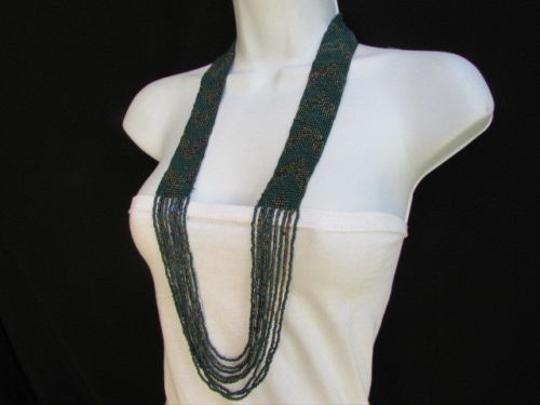 Other Women Long Fashion Green Forest Beads Necklace Trendy Hawaiian Beach Fashion