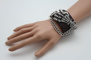 Other Women Silver Chain Skeleton Metal Skull Fashion Black Wide Faux Leather Bracelet