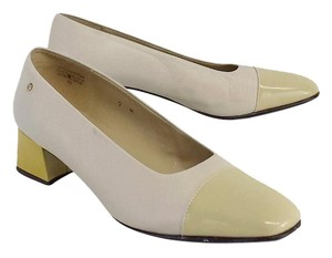 Etienne Aigner Beige Yellow Chunky Low Heels Pumps