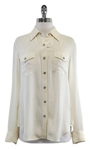 Vince Cream Long Sleeve Button Up Top