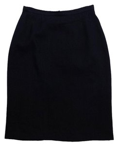 Emanuel Ungaro Midnight Blue Wool Textured Skirt