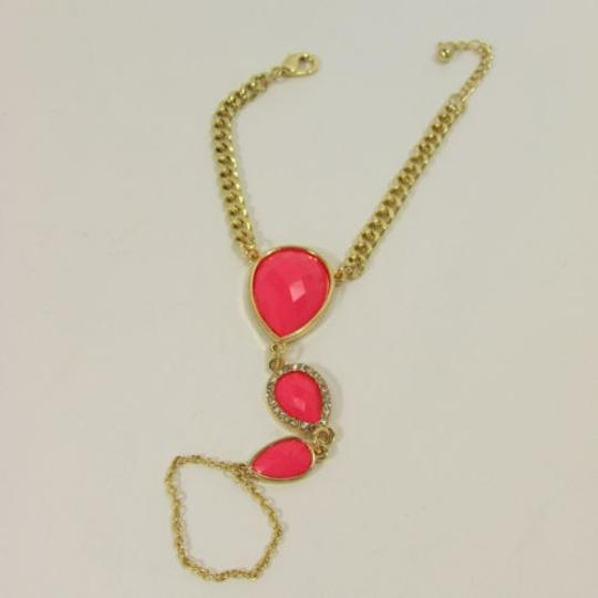 Other Women Gold Metal Hand Chain Coral Pink Drops Beads Slave Ring