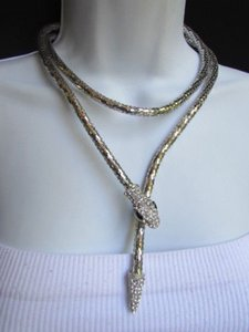 Other N Women Silver Mesh Metal Fashion Necklace Snake Head Rhinestones Ways To Wear