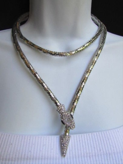 Other Women Silver Mesh Metal Fashion Necklace Snake Head