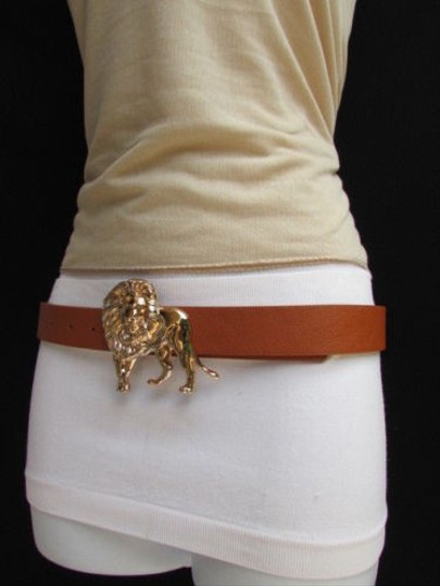 Other Women Brown Faux Leather Classic Fashion Belt Big Gold Lion Buckle 29-36 S-m-l