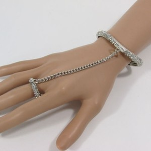Women Silver Metal Hand Chain Fashion Narrow Bracelet Slave Ring Rhinestones