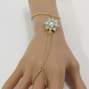 Women Gold Metal Hand Chain Fashion Bracelet Silver Rhinestone Flower Slave Ring