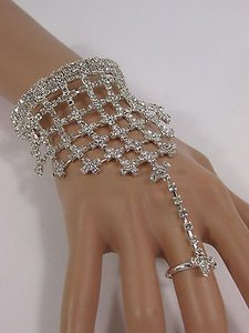 Other N. Women Silver Metal Hand Chain Fashion Bracelet Slave Ring Rhinestones Wedding