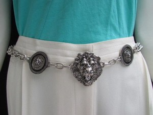 Women Hip Waist Silver Metal Chains Three Lion Head Fashion Belt 26-41 Xs-xl