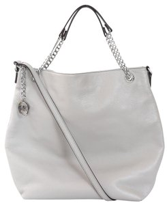 Michael Kors Pearl Silver Hardware Crossbody Strap Tote in Grey