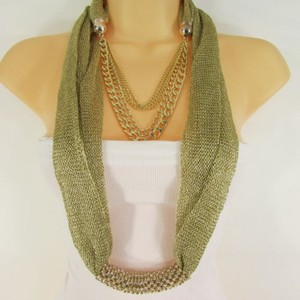 Women Gold Metal Chains Fashion Necklace Infinity Fabric Scarf Rhinestones