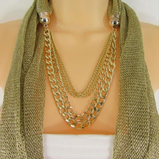 Other Women Gold Metal Chains Fashion Necklace Infinity Fabric Scarf Rhinestones