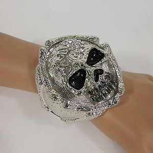 Big Silver Metal Skull Cuff Bracelet Fashion Jewelry Rhinestones Skeleton