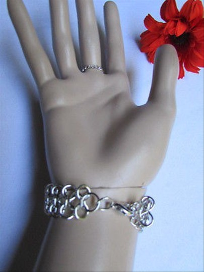 Other Women Silver Metal Chunky Trendy Bracelet Multi Chains