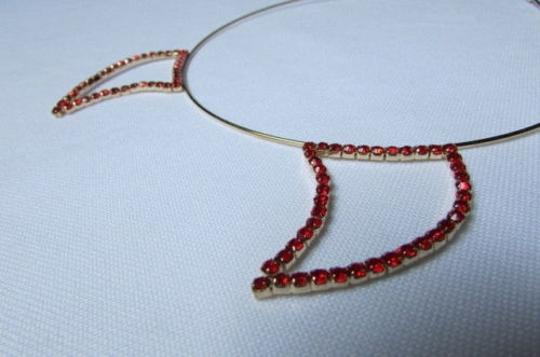 Other Women Head Band Red Rhinestones Gold Metal Devil Ears Halloween Style