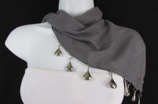 Other Women Scarf Fashion Necklace Gray Short Fabric Neck Multi Silver Drops Beads