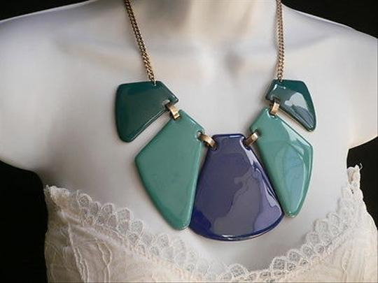 Other Women Spring Summer Multi Color Green Blue Aqua Big Plates Necklace 11 Drop