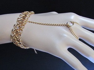 Women Chunky Bracelet Gold Metal Multi Chains Fashion Slave Trendy Ring