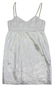 Badgley Mischka short dress White Metallic Floral on Tradesy