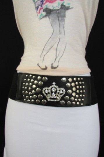 Other Women Black Elastic Fashion Belt Hip Waist Silver Metal Crown Buckle
