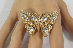 Other Women Fashion Gold Metal Ring Butterfly Elastic Band Red Blue Rhinestones