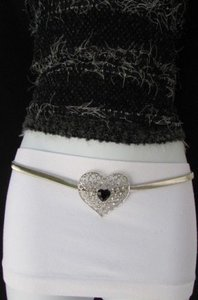 Women Waist Hip Silver Chain Elastic Fashion Metal Belt Heart 29-45