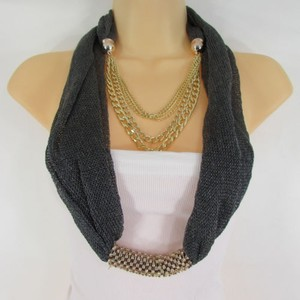 Other Women Gold Metal Chains Fashion Necklace Infinity Pewter Fabric Scarf