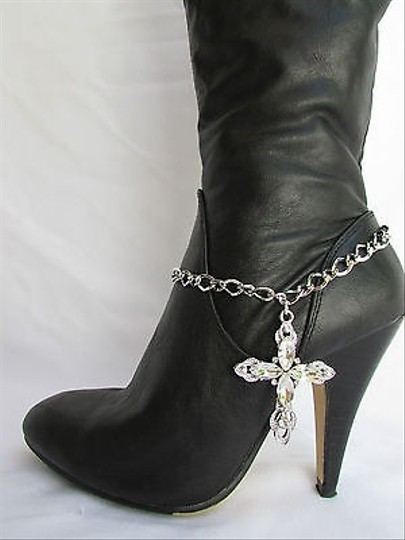 Other Women Silver Boot Anklet Chain Strap Rhinestone Big Cross Western Shoe Charm 15