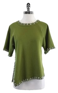 Tory Burch Olive Green Short Sleeve Embellished Top