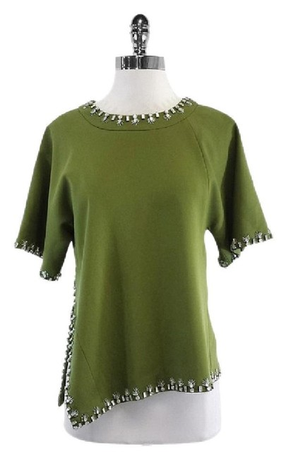 Tory Burch Short Sleeve Embellished Top Olive Green