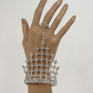 Other Women Silver Net Metal Hand Chain Fashion Bracelet Slave Ring Rhinestone Wedding