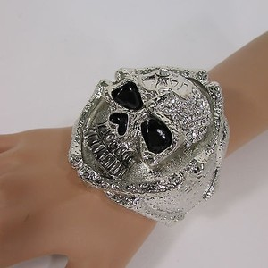 Other Bones Silver Metal Skull Cuff Bracelet Fashion Jewelry Rhinestones Skeleton