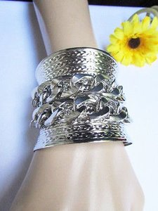 Women Long Silver Metal Wide Cuff Bracelet Fashion Thick Chains Jewelry Bead