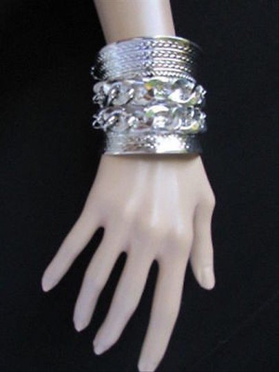 Other Women Long Silver Metal Wide Cuff Bracelet Fashion Thick Chains
