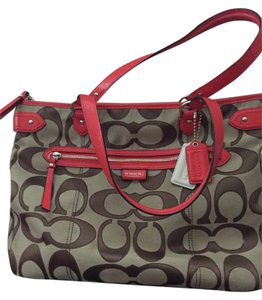Coach Tote in Tan/Burnt orange trim and handles